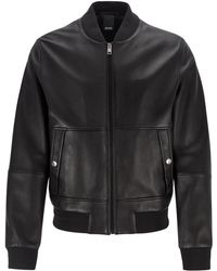 BOSS Regular-fit Bomber Jacket In Nappa Leather - Black