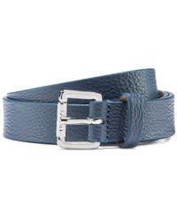 HUGO Grained-leather Belt With Logo-engraved Buckle - Blue