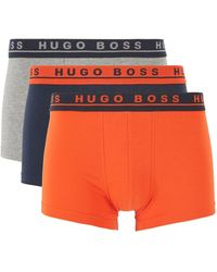 BOSS by Hugo Boss Three Pack Of Stretch Cotton Trunks With Logo Waistbands - Multicolor