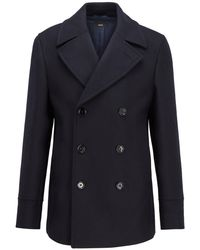 BOSS by Hugo Boss Double-breasted Coat In A Wool Blend - Blue
