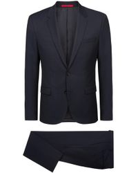 HUGO - Extra-slim-fit Suit In Structured Virgin Wool - Lyst