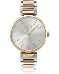 BOSS - Link-bracelet Watch With Carnation-gold-plated Accents - Lyst