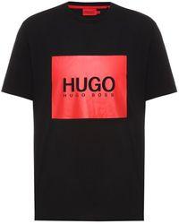 HUGO Logo-box-print T-shirt In Cotton Jersey - Black