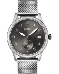 BOSS Textured Bezel Watch With Stainless-steel Mesh Bracelet - Metallic