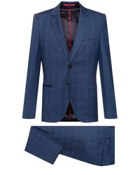 HUGO Extra-slim-fit Three-piece Suit In Checked Wool - Blue