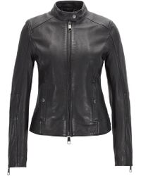 BOSS Biker Jacket In Structured Nappa Leather With Stand Collar - Black