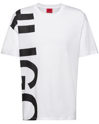 HUGO Regular-fit T-shirt In Cotton Jersey With Cropped Logo - White