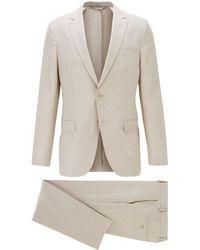 BOSS by Hugo Boss Vegan Slim-fit Suit In Italian Linen - Natural