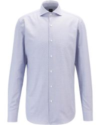 BOSS - Slim-fit Shirt In Micro-structured Italian Cotton - Lyst