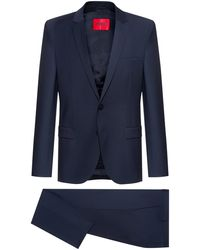 HUGO Extra-slim-fit Suit In A Super-flex Wool Blend - Blue