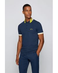 BOSS by HUGO BOSS Polo Slim Fit en maille piquée stretch à logos - Bleu