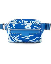 BOSS by HUGO BOSS Printed Belt Bag In Lightweight Nylon With Leather Facings - Blue