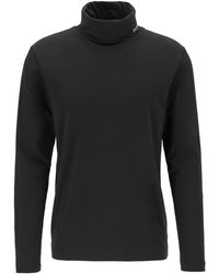 BOSS Long-sleeved T-shirt In Stretch Cotton With Turtleneck - Black