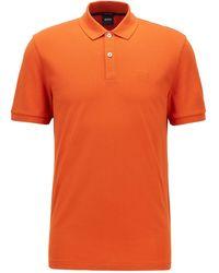 BOSS by HUGO BOSS Regular-fit Polo In Piqué Van Pimakatoen - Oranje
