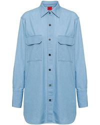 HUGO Long-sleeved Blouse In Cotton With Press-stud Placket - Blue