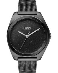 HUGO Black Plated Watch With Stardust Effect Dial
