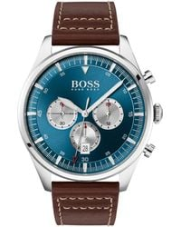 BOSS by Hugo Boss Stainless-steel Chronograph Watch With Brown Leather Strap