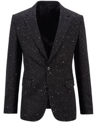 BOSS by HUGO BOSS Single-breasted Jacket With Sequinned Stripe - Black