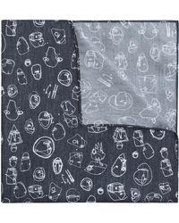 HUGO - Graffiti-print Pocket Square In Silk Twill - Lyst