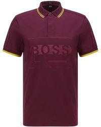 BOSS by HUGO BOSS Regular-Fit Poloshirt aus Baumwoll-Mix mit Logo - Lila