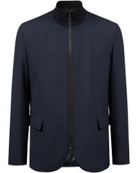 HUGO - Zippered Jacket In Stretch Fabric With Contrast Collar - Lyst