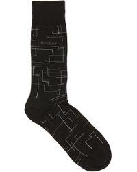 BOSS Patterned Regular-length Socks In A Mercerized-cotton Blend - Black