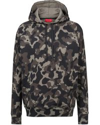HUGO - Oversized-fit Hooded Sweatshirt In Camouflage-print Cotton - Lyst