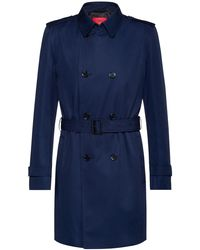 HUGO Slim Fit Trench Coat With Water Repellent Finish - Blue