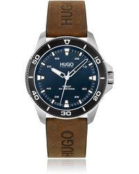 HUGO Horloge Met Blauwe Wijzerplaat En Leren Polsband Met Gestempelde Logo's - Meerkleurig