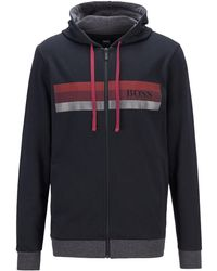 BOSS by Hugo Boss - Hooded French-terry Jacket With Block-striped Logo Print - Lyst