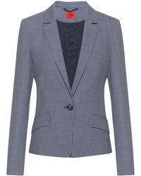 HUGO Patterned Regular-fit Blazer In A Stretch-cotton Blend - Blue