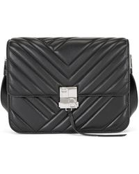BOSS by Hugo Boss Quilted Nappa-leather Shoulder Bag With Monogram Hardware - Black