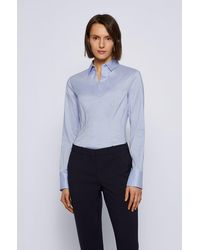 BOSS by HUGO BOSS Solid-coloured Cotton Blend Blouse: 'bashina6' - Pink