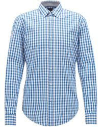 BOSS - Slim-fit Shirt In Vichy Check Cotton - Lyst