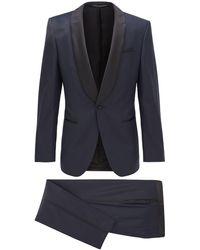 BOSS Slim-fit Tuxedo In Patterned Virgin-wool Serge - Blue