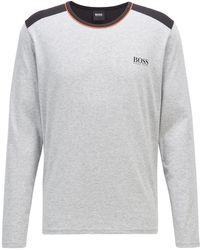 BOSS by Hugo Boss Logo-print Pyjama Top In Pima Cotton With Modal And Stretch - Grey