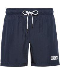 HUGO Quick-dry Swim Shorts With Foil-print Logo - Blue
