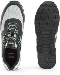 BOSS by HUGO BOSS Hybride Sneakers Van Technisch Materiaal, Mesh En Leer - Grijs