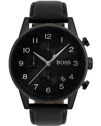 BOSS - Three-hand Watch With Sunray Brushed Dial And Leather Strap - Lyst