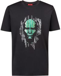 HUGO - Regular-fit T-shirt In Cotton With Placement Foil Print - Lyst