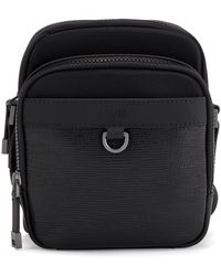 BOSS by HUGO BOSS Recycled-nylon Reporter Bag With Italian-leather Trims - Black