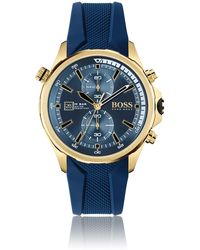 BOSS by Hugo Boss Yellow-gold-effect Chronograph Watch With Textured Silicone Strap - Blue
