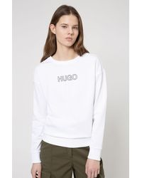 BOSS by Hugo Boss French Terry Sweatshirt In Organic Cotton With 3 D Logo - White