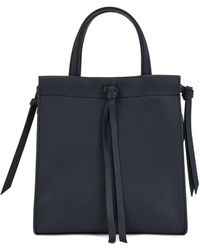 BOSS by Hugo Boss Grained Leather Tote Bag With Knotted Tassel Trims - Blue