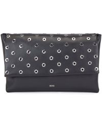 BOSS by Hugo Boss Nappa-leather Clutch Bag With Metallic Eyelets - Black