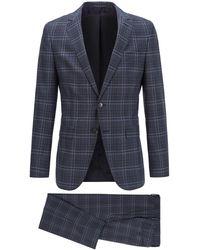 BOSS by Hugo Boss Abito slim fit in lana vergine a quadri - Blu