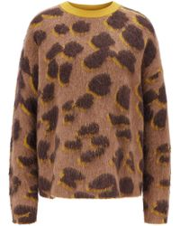 BOSS Relaxed-fit Jumper In Leopard Jacquard Knit - Brown