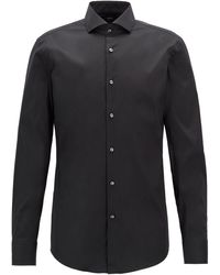 BOSS by Hugo Boss 'jason' | Slim Fit, Spread Collar Stretch Cotton Blend Dress Shirt - Black