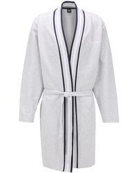 BOSS - Kimono-style Bathrobe In Needle-rib Cotton - Lyst