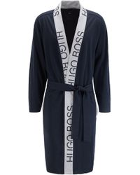 BOSS Belted Dressing Gown In Cotton With Cut-logo Trim - Blue